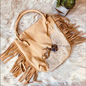 Boho Leather Fringe Purse with Lace Apliquè